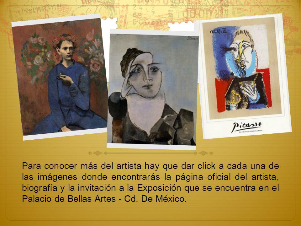Para conocer más del artista hay que dar click a cada una de las imágenes donde encontrarás la página oficial del artista, biografía y la invitación a
