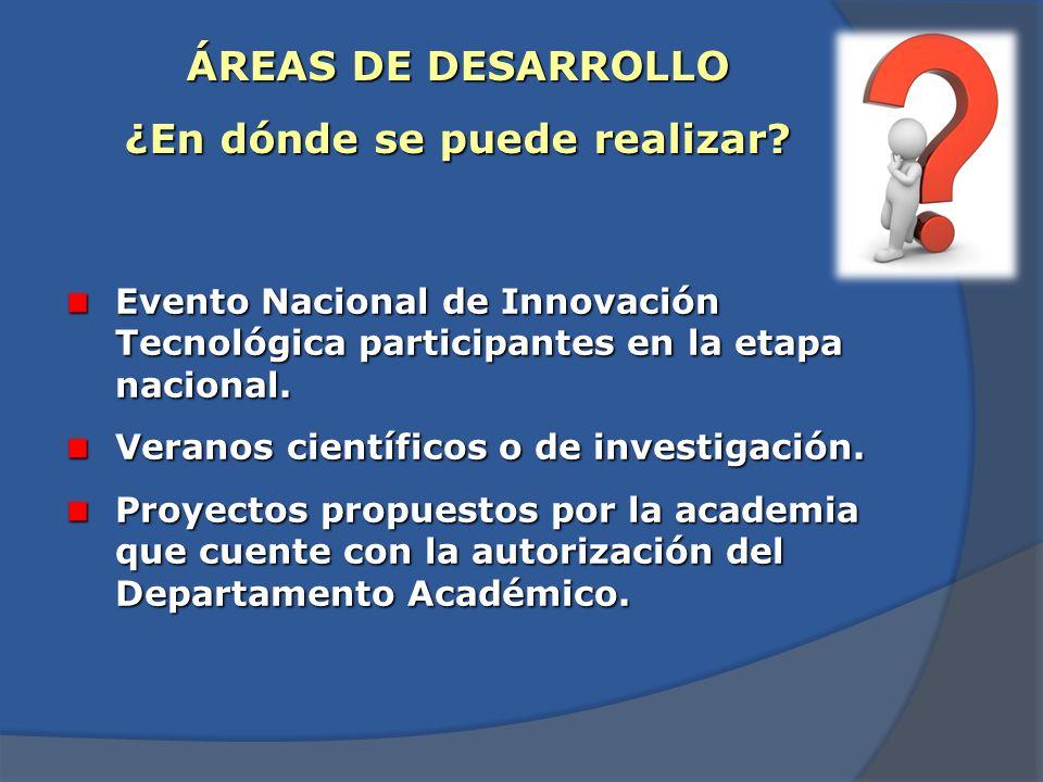 ÁREAS DE DESARROLLO ¿En dónde se puede realizar? Sector social y productivo (organizaciones públicas y privadas). Innovación y Desarrollo tecnológico.