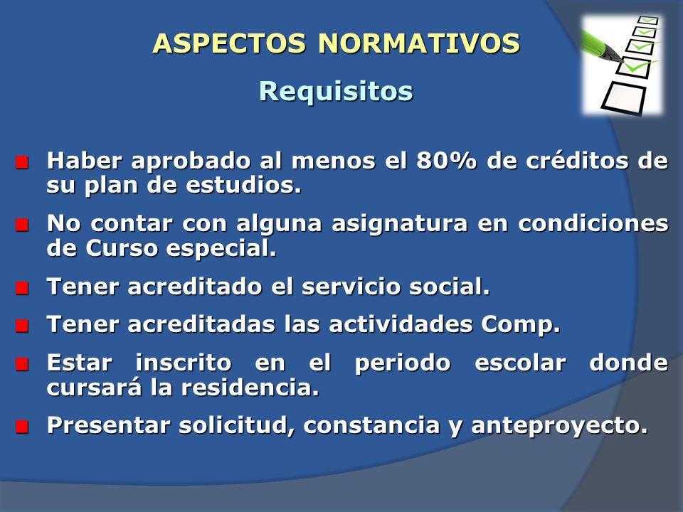 ASPECTOS NORMATIVOS Requisitos Haber aprobado al menos el 80% de créditos de su plan de estudios.
