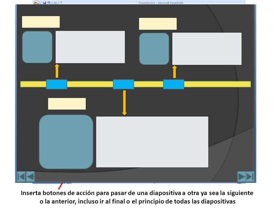 Inserta botones de acción para pasar de una diapositiva a otra ya sea la siguiente o la anterior, incluso ir al final o el principio de todas las diap