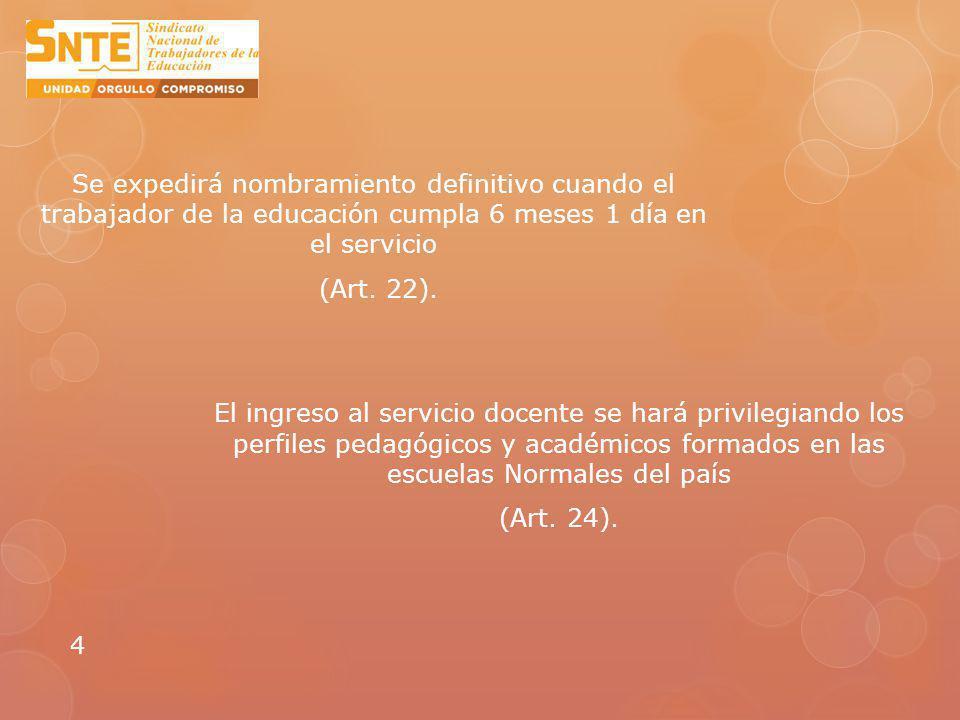 Se expedirá nombramiento definitivo cuando el trabajador de la educación cumpla 6 meses 1 día en el servicio (Art.