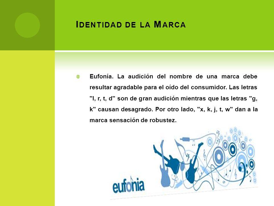 I DENTIDAD DE LA M ARCA Eufonía. La audición del nombre de una marca debe resultar agradable para el oído del consumidor. Las letras