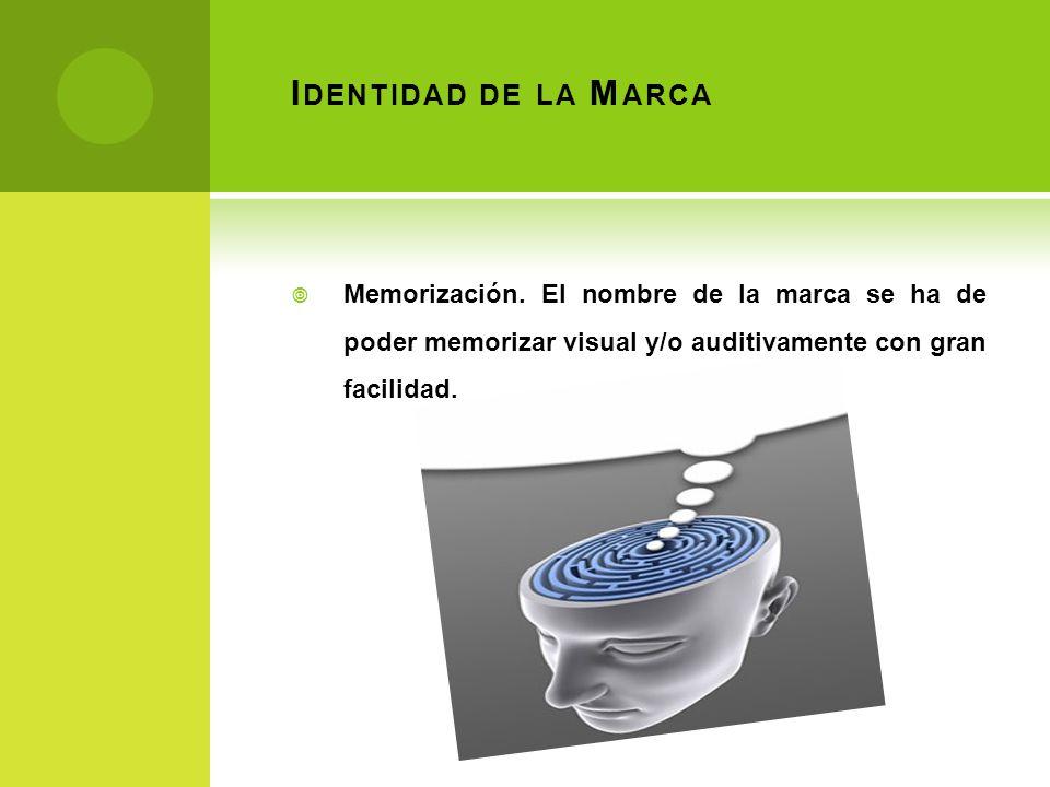 I DENTIDAD DE LA M ARCA Memorización. El nombre de la marca se ha de poder memorizar visual y/o auditivamente con gran facilidad.