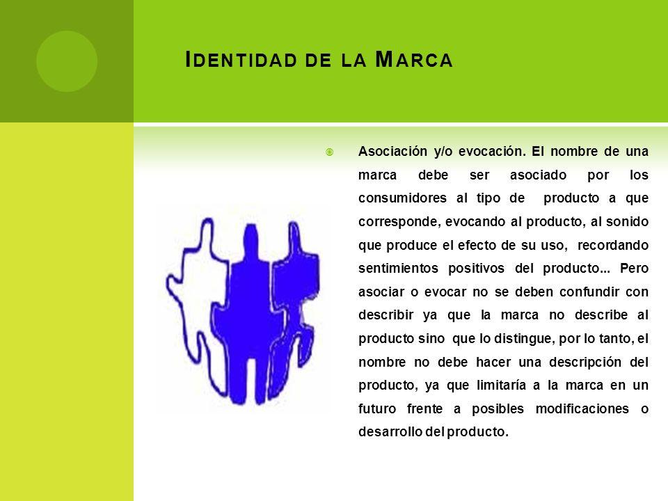 I DENTIDAD DE LA M ARCA Asociación y/o evocación. El nombre de una marca debe ser asociado por los consumidores al tipo de producto a que corresponde,