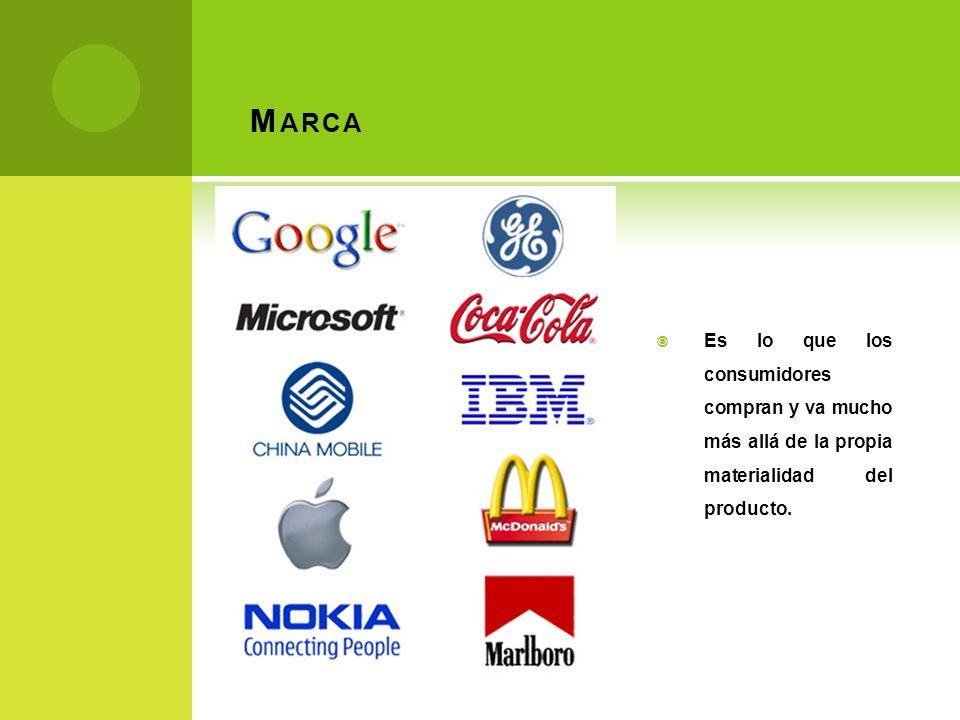 M ARCA Es lo que los consumidores compran y va mucho más allá de la propia materialidad del producto.