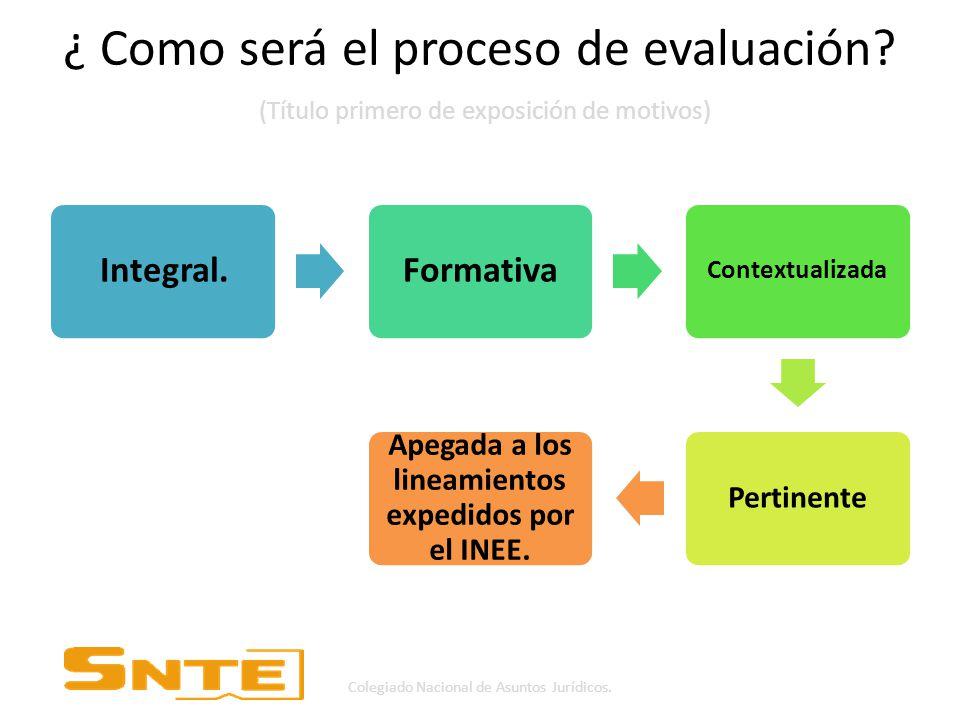 ¿ Como será el proceso de evaluación.