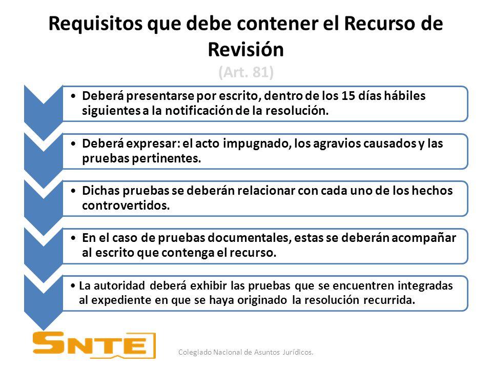 Requisitos que debe contener el Recurso de Revisión (Art.