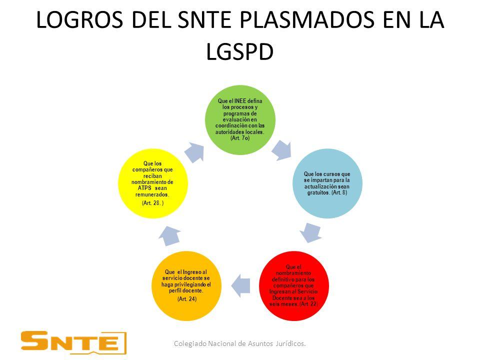 LOGROS DEL SNTE PLASMADOS EN LA LGSPD Que el INEE defina los procesos y programas de evaluación en coordinación con las autoridades locales.