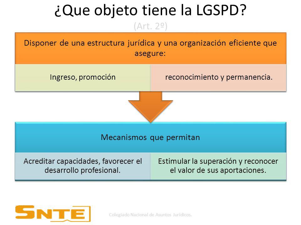 ¿Que objeto tiene la LGSPD.(Art.