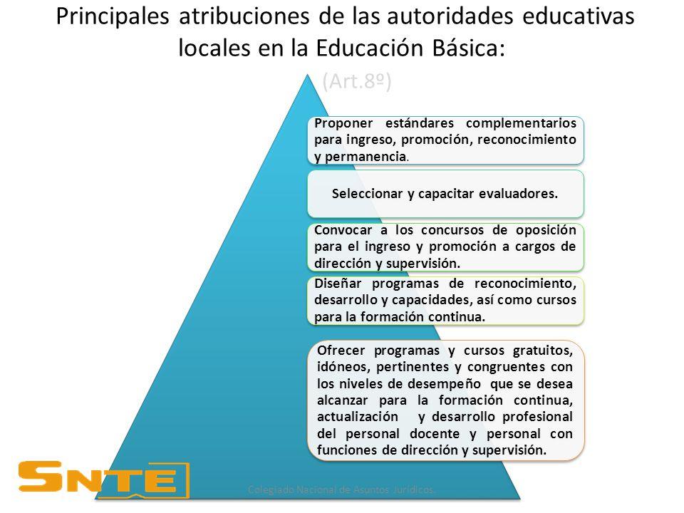 Principales atribuciones de las autoridades educativas locales en la Educación Básica: (Art.8º) Proponer estándares complementarios para ingreso, promoción, reconocimiento y permanencia.
