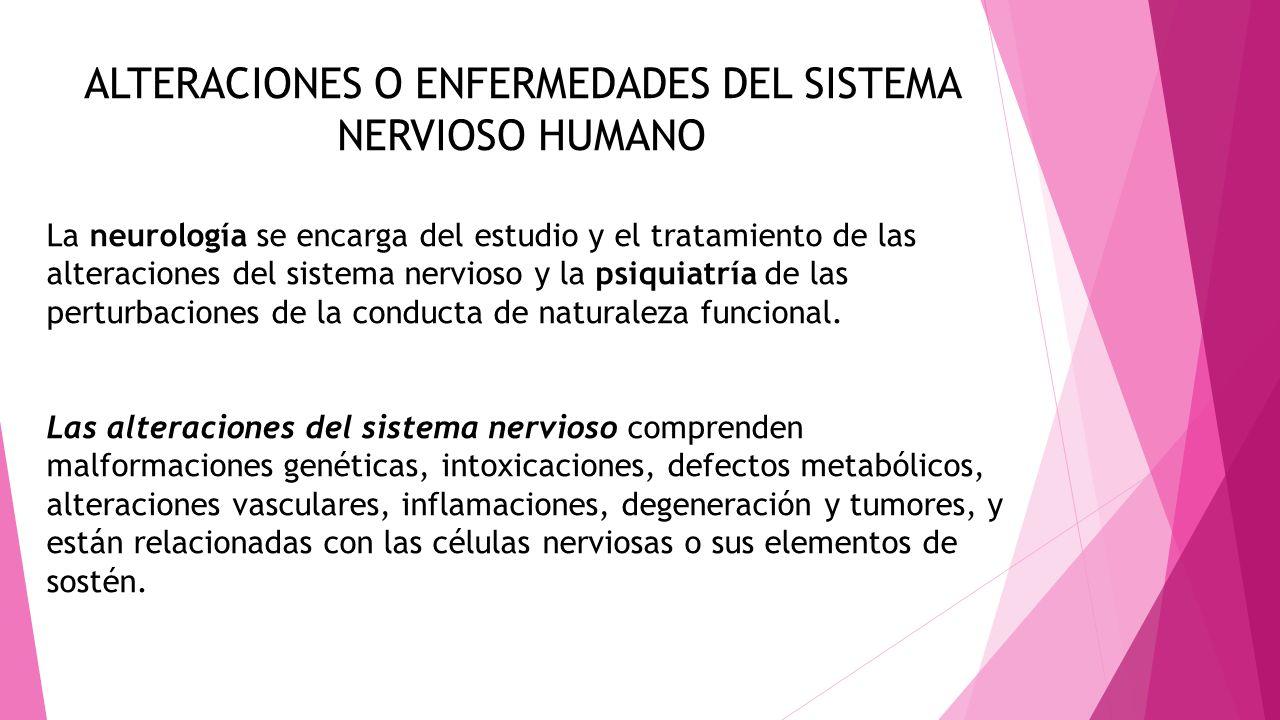 ALTERACIONES O ENFERMEDADES DEL SISTEMA NERVIOSO HUMANO La neurología se encarga del estudio y el tratamiento de las alteraciones del sistema nervioso