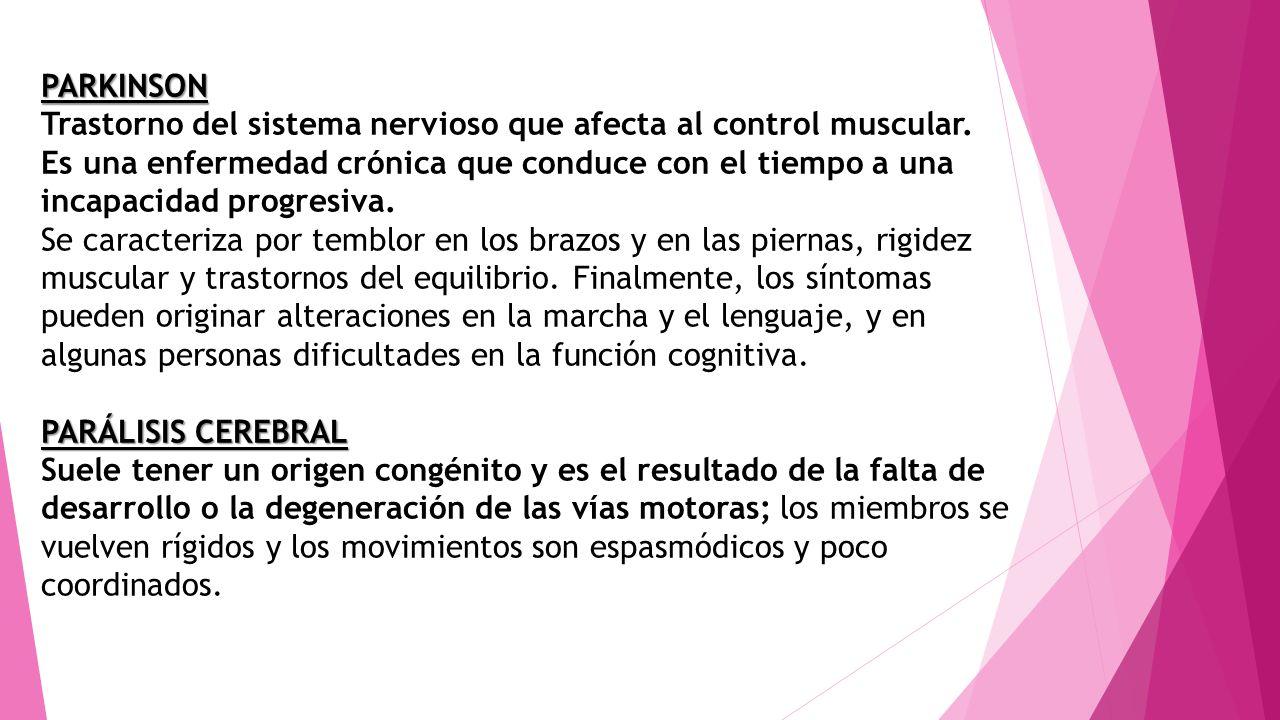 PARKINSON Trastorno del sistema nervioso que afecta al control muscular. Es una enfermedad crónica que conduce con el tiempo a una incapacidad progres