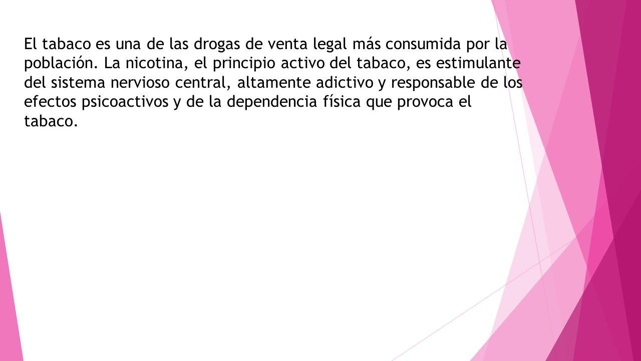 El tabaco es una de las drogas de venta legal más consumida por la población. La nicotina, el principio activo del tabaco, es estimulante del sistema
