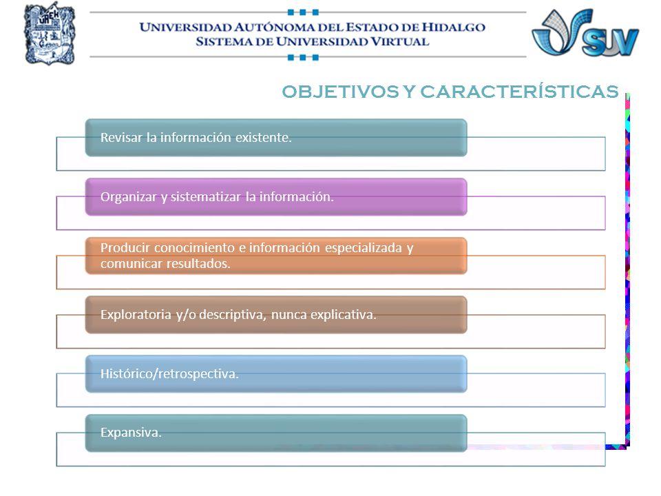 OBJETIVOS Y CARACTERÍSTICAS Revisar la información existente.Organizar y sistematizar la información. Producir conocimiento e información especializad