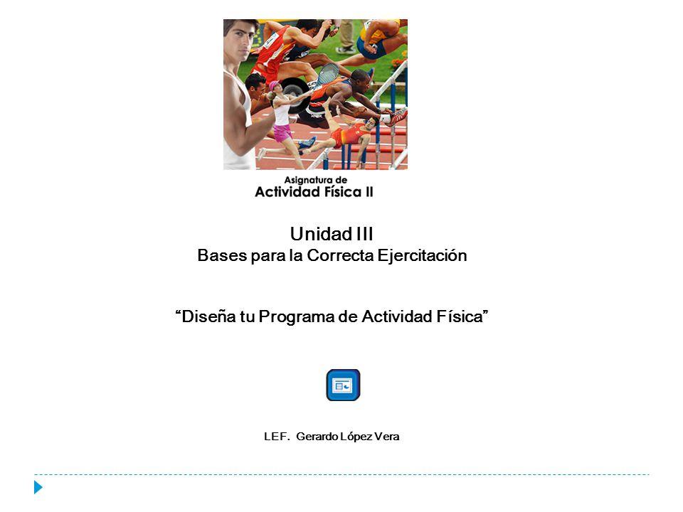 Unidad III Bases para la Correcta Ejercitación Diseña tu Programa de Actividad Física LEF. Gerardo López Vera
