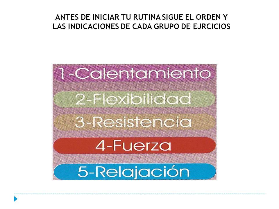 ANTES DE INICIAR TU RUTINA SIGUE EL ORDEN Y LAS INDICACIONES DE CADA GRUPO DE EJRCICIOS