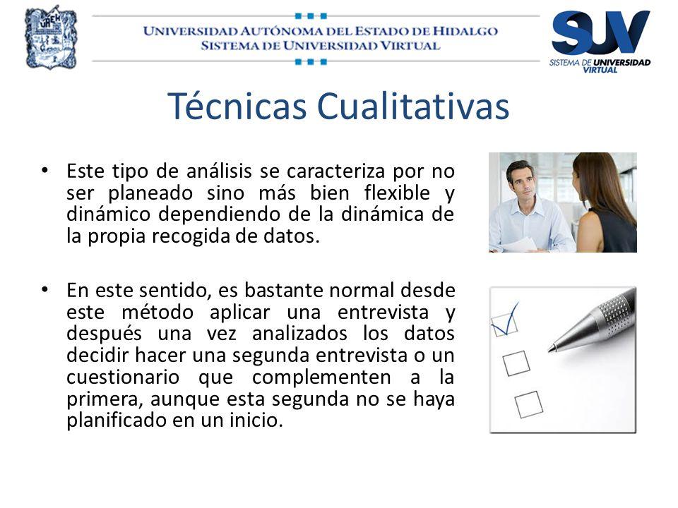 Técnicas Cualitativas Este tipo de análisis se caracteriza por no ser planeado sino más bien flexible y dinámico dependiendo de la dinámica de la prop