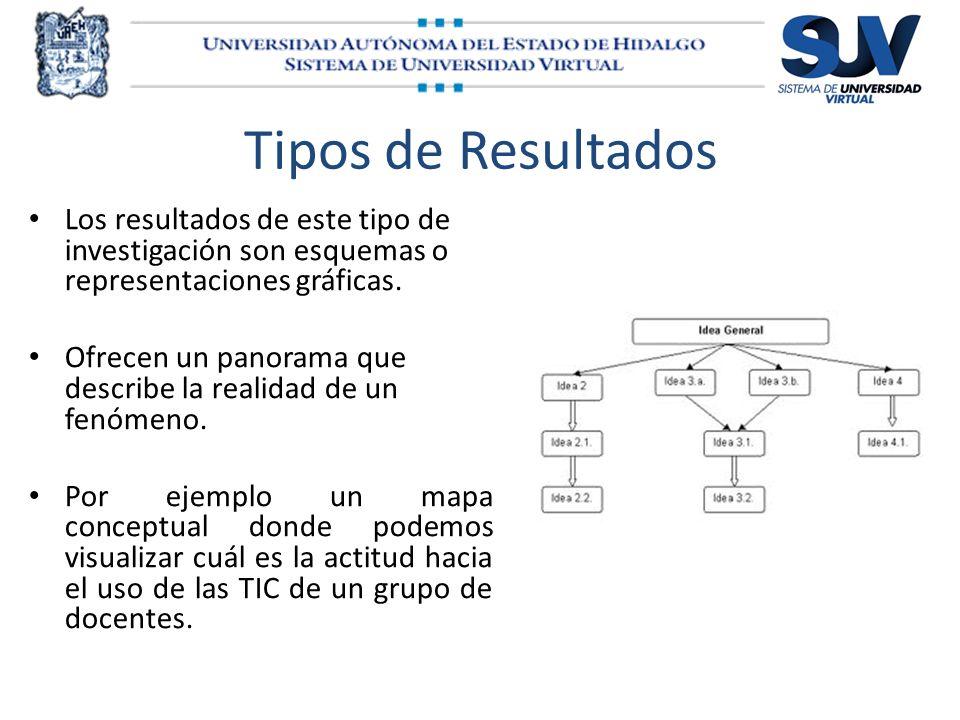 Tipos de Resultados Los resultados de este tipo de investigación son esquemas o representaciones gráficas. Ofrecen un panorama que describe la realida