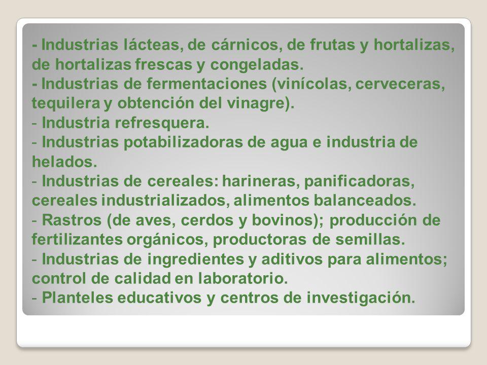 - Industrias lácteas, de cárnicos, de frutas y hortalizas, de hortalizas frescas y congeladas. - Industrias de fermentaciones (vinícolas, cerveceras,