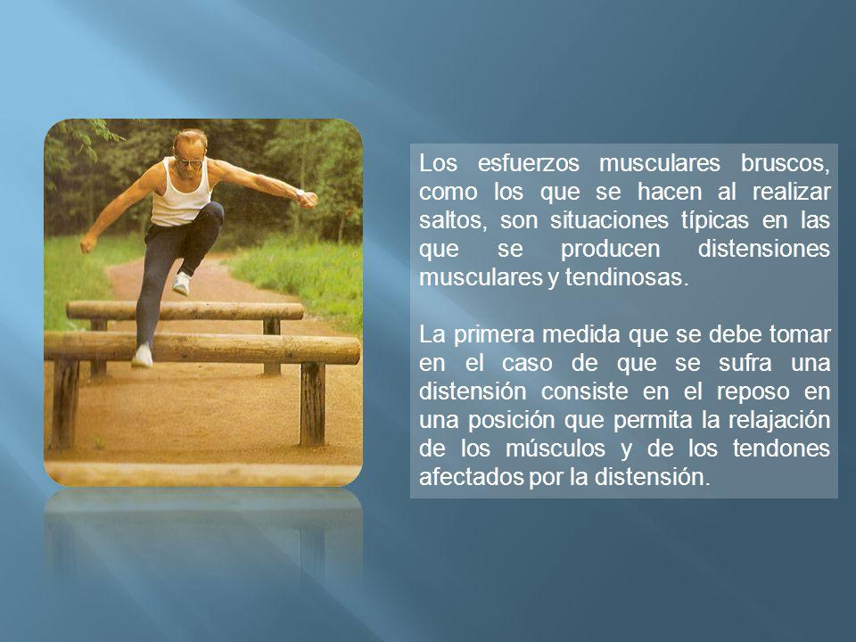Los esfuerzos musculares bruscos, como los que se hacen al realizar saltos, son situaciones típicas en las que se producen distensiones musculares y tendinosas.