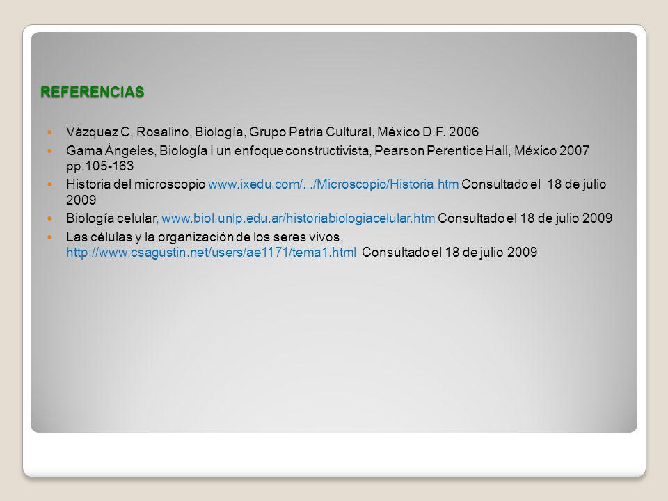 REFERENCIAS Vázquez C, Rosalino, Biología, Grupo Patria Cultural, México D.F. 2006 Gama Ángeles, Biología I un enfoque constructivista, Pearson Perent