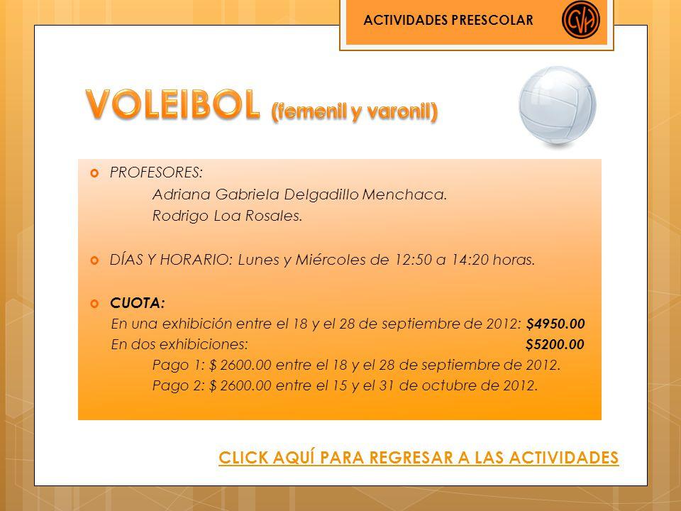 PROFESORES: Adriana Gabriela Delgadillo Menchaca. Rodrigo Loa Rosales. DÍAS Y HORARIO: Lunes y Miércoles de 12:50 a 14:20 horas. CUOTA: En una exhibic
