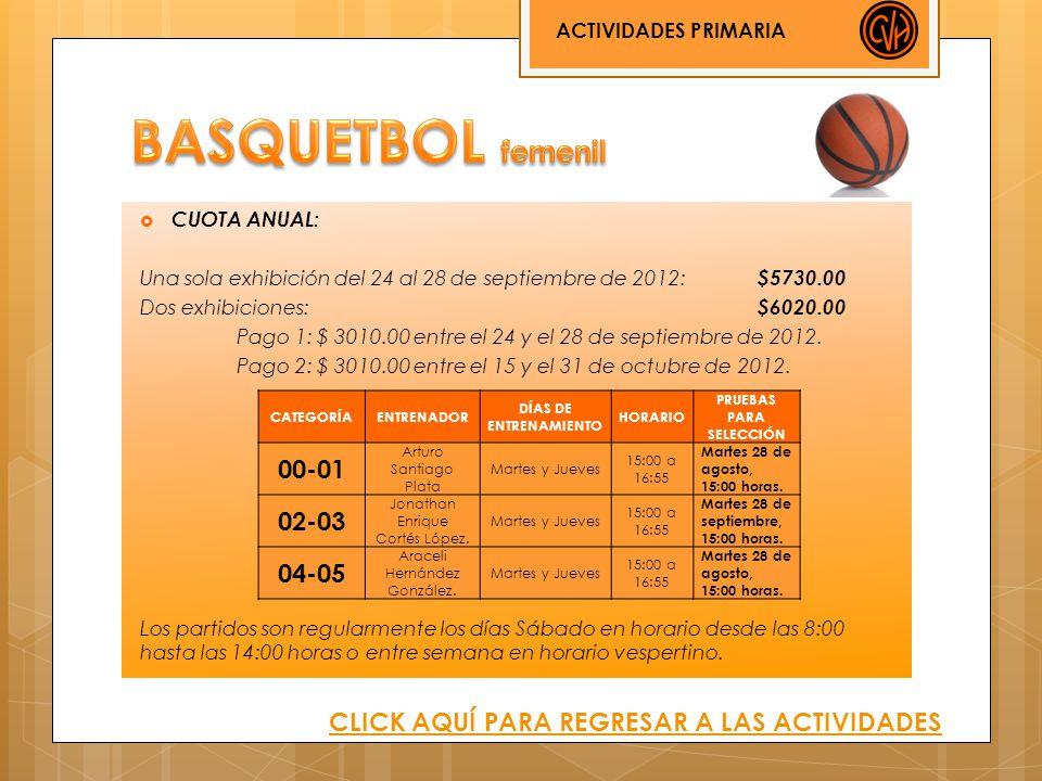 CUOTA ANUAL: Una sola exhibición del 24 al 28 de septiembre de 2012: $5730.00 Dos exhibiciones: $6020.00 Pago 1: $ 3010.00 entre el 24 y el 28 de sept