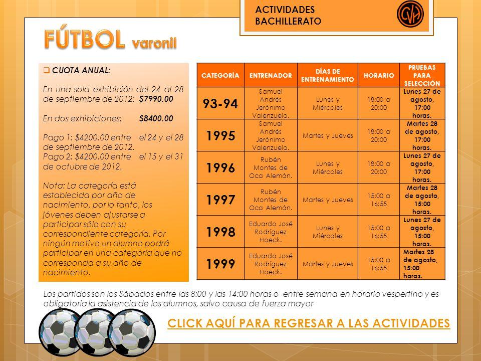ACTIVIDADES BACHILLERATO CLICK AQUÍ PARA REGRESAR A LAS ACTIVIDADES CATEGORÍAENTRENADOR DÍAS DE ENTRENAMIENTO HORARIO PRUEBAS PARA SELECCIÓN 93-94 Sam