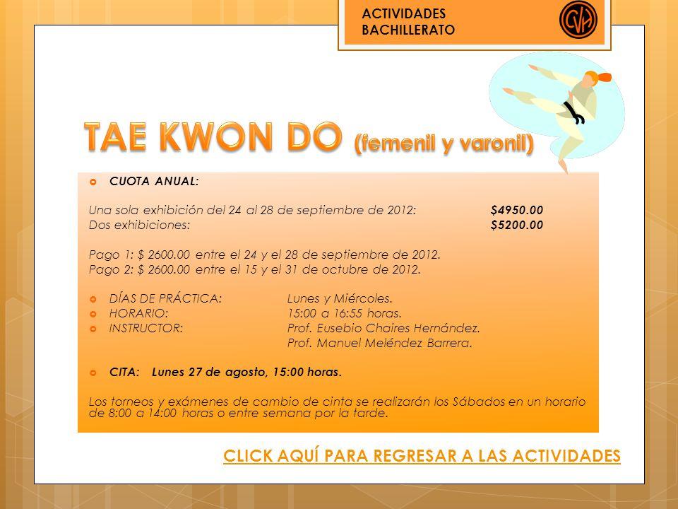 CUOTA ANUAL: Una sola exhibición del 24 al 28 de septiembre de 2012: $4950.00 Dos exhibiciones: $5200.00 Pago 1: $ 2600.00 entre el 24 y el 28 de sept