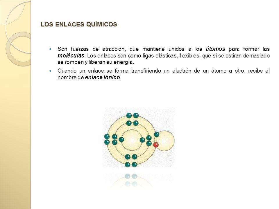 LOS ENLACES QUÍMICOS Son fuerzas de atracción, que mantiene unidos a los átomos para formar las moléculas.