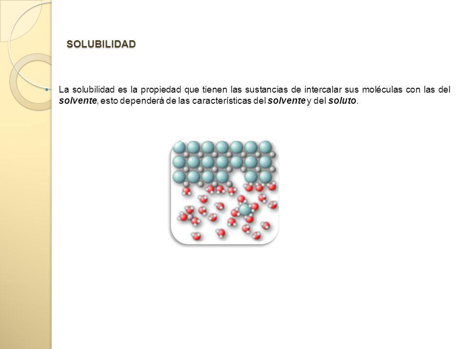 SOLUBILIDAD La solubilidad es la propiedad que tienen las sustancias de intercalar sus moléculas con las del solvente, esto dependerá de las características del solvente y del soluto.