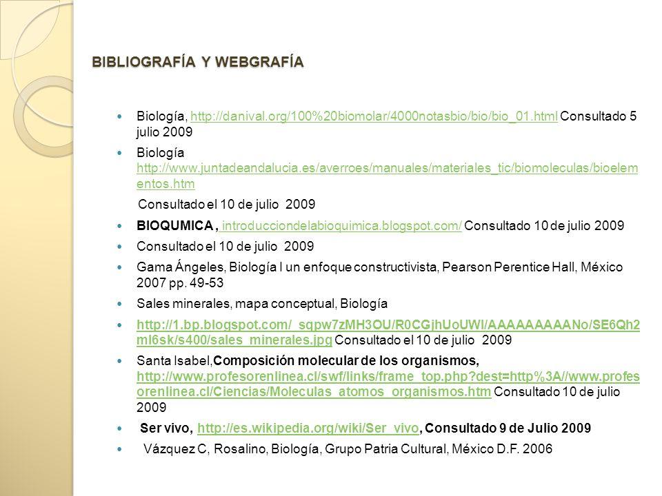 BIBLIOGRAFÍA Y WEBGRAFÍA Biología, http://danival.org/100%20biomolar/4000notasbio/bio/bio_01.html Consultado 5 julio 2009http://danival.org/100%20biomolar/4000notasbio/bio/bio_01.html Biología http://www.juntadeandalucia.es/averroes/manuales/materiales_tic/biomoleculas/bioelem entos.htm http://www.juntadeandalucia.es/averroes/manuales/materiales_tic/biomoleculas/bioelem entos.htm Consultado el 10 de julio 2009 BIOQUMICA, introducciondelabioquimica.blogspot.com/ Consultado 10 de julio 2009 introducciondelabioquimica.blogspot.com/ Consultado el 10 de julio 2009 Gama Ángeles, Biología I un enfoque constructivista, Pearson Perentice Hall, México 2007 pp.