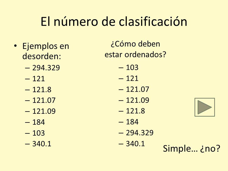 En seguida veremos detalles de… El número de clasificación y sus minucias El número de Autor/Título El (número del) año de edición Vamos primero al nú