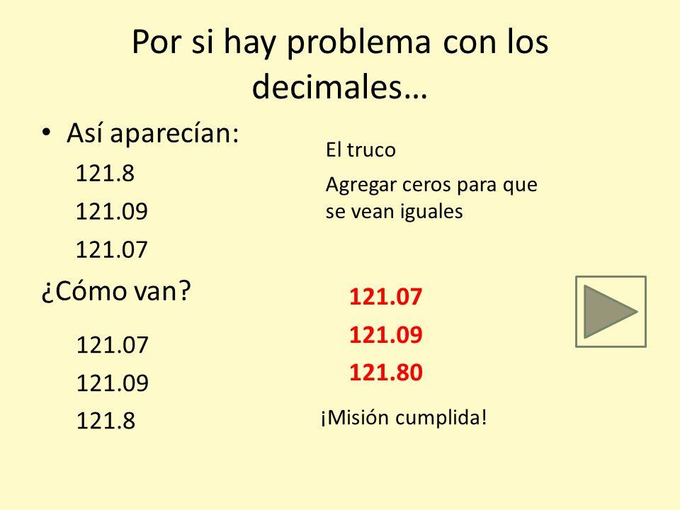 Por si hay problema con los decimales… Así aparecían: 121.8 121.09 121.07 ¿Cómo van? 121.07 121.09 121.8 El truco Agregar ceros para que se vean igual