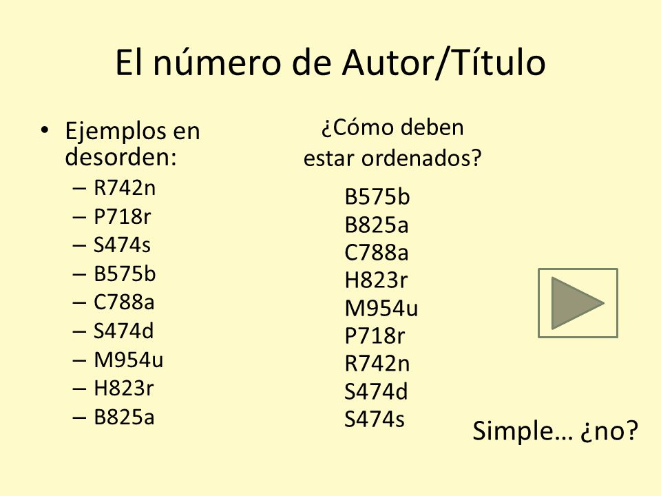El número de Autor/Título Es muy simple, un ejemplo: B738a La primera letra y los siguientes tres dígitos corresponden a una tabla de donde se busca e