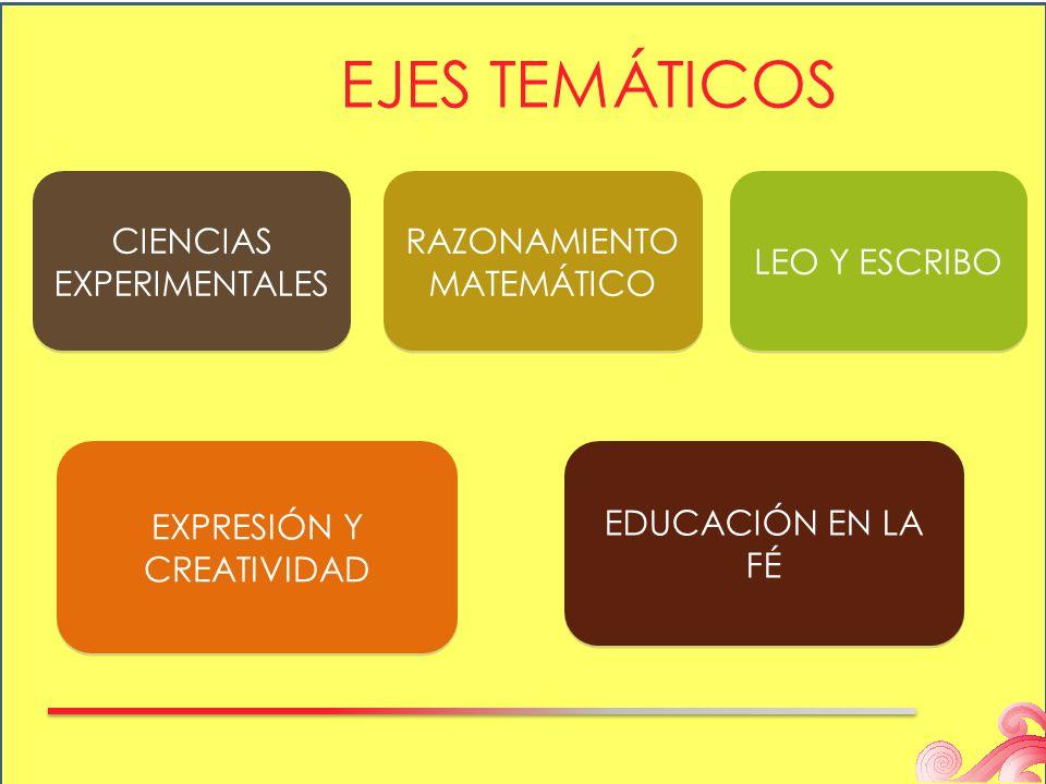 EJES TEMÁTICOS RAZONAMIENTO MATEMÁTICO EDUCACIÓN EN LA FÉ CIENCIAS EXPERIMENTALES LEO Y ESCRIBO EXPRESIÓN Y CREATIVIDAD