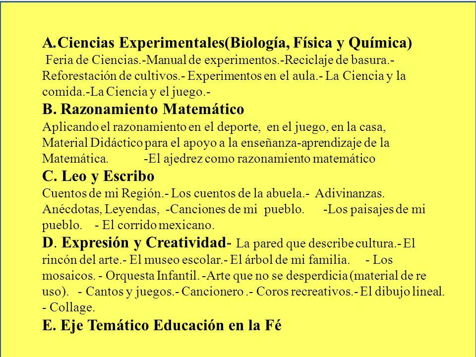 A.Ciencias Experimentales(Biología, Física y Química) Feria de Ciencias.-Manual de experimentos.-Reciclaje de basura.- Reforestación de cultivos.- Exp