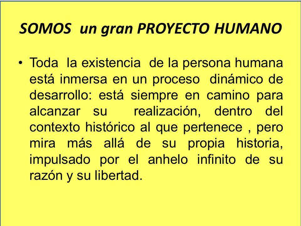 SOMOS un gran PROYECTO HUMANO Toda la existencia de la persona humana está inmersa en un proceso dinámico de desarrollo: está siempre en camino para a