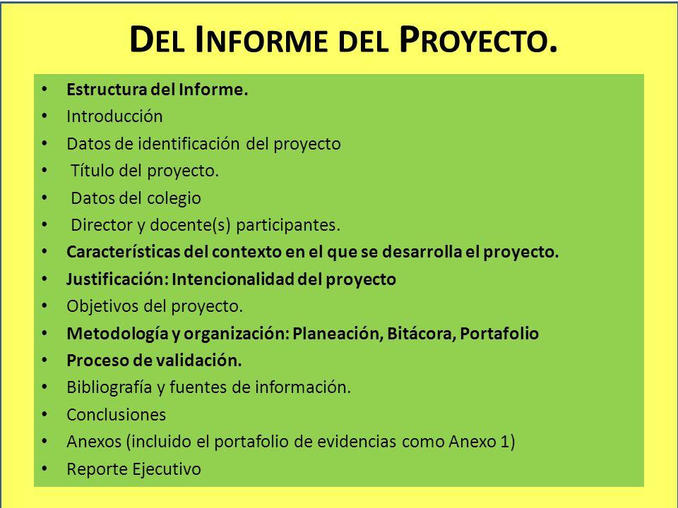D EL I NFORME DEL P ROYECTO. Estructura del Informe. Introducción Datos de identificación del proyecto Título del proyecto. Datos del colegio Director