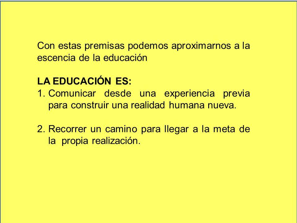 Con estas premisas podemos aproximarnos a la escencia de la educación LA EDUCACIÓN ES: 1.Comunicar desde una experiencia previa para construir una rea