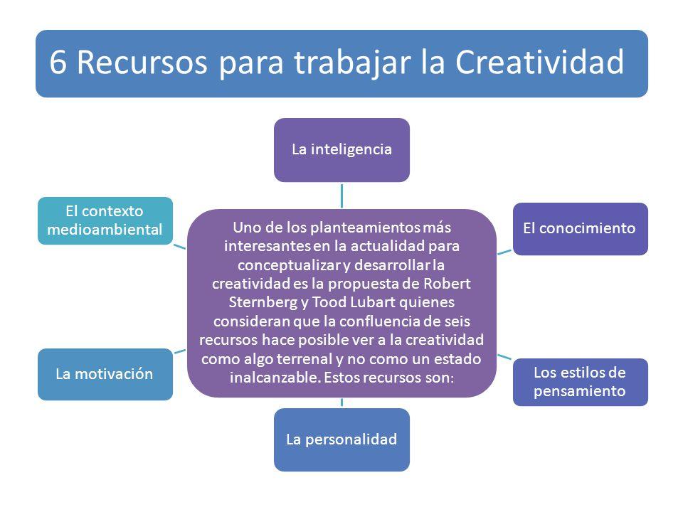 6 Recursos para trabajar la Creatividad Uno de los planteamientos más interesantes en la actualidad para conceptualizar y desarrollar la creatividad e