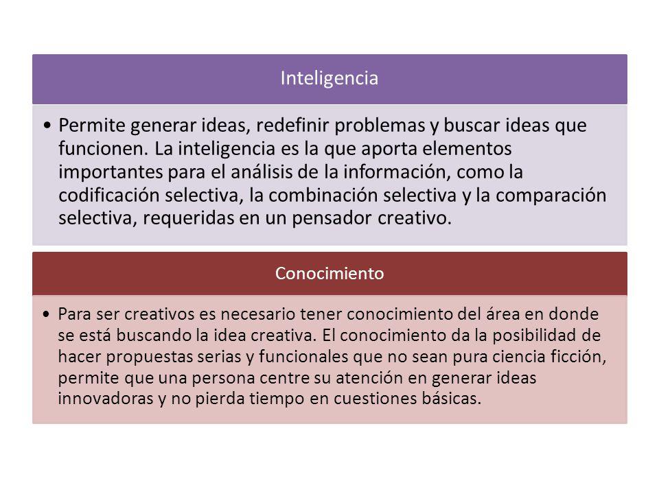 Inteligencia Permite generar ideas, redefinir problemas y buscar ideas que funcionen. La inteligencia es la que aporta elementos importantes para el a