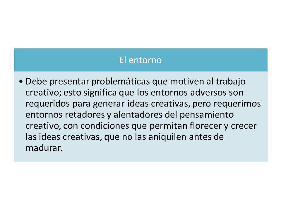 El entorno Debe presentar problemáticas que motiven al trabajo creativo; esto significa que los entornos adversos son requeridos para generar ideas cr