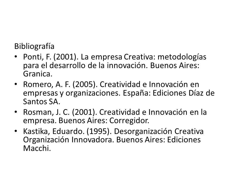Bibliografía Ponti, F. (2001). La empresa Creativa: metodologías para el desarrollo de la innovación. Buenos Aires: Granica. Romero, A. F. (2005). Cre