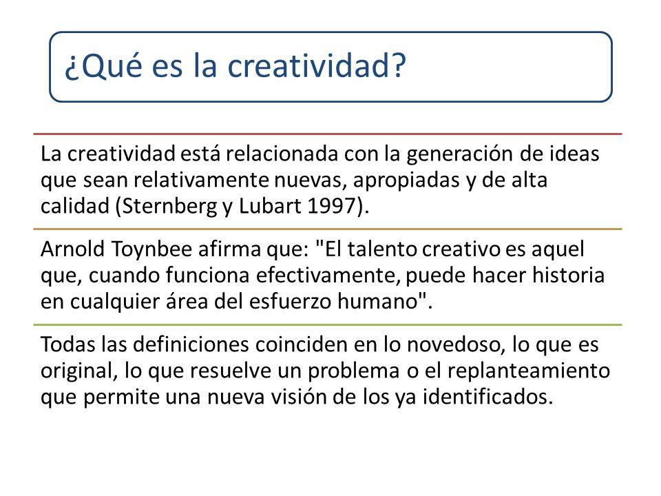 La creatividad está relacionada con la generación de ideas que sean relativamente nuevas, apropiadas y de alta calidad (Sternberg y Lubart 1997). Arno