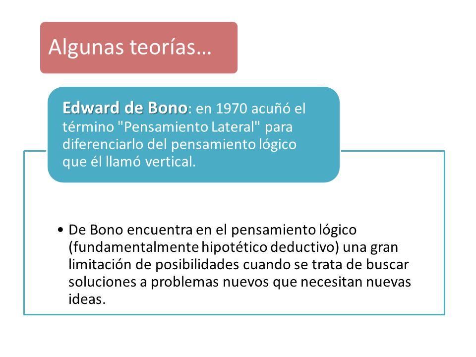 De Bono encuentra en el pensamiento lógico (fundamentalmente hipotético deductivo) una gran limitación de posibilidades cuando se trata de buscar solu