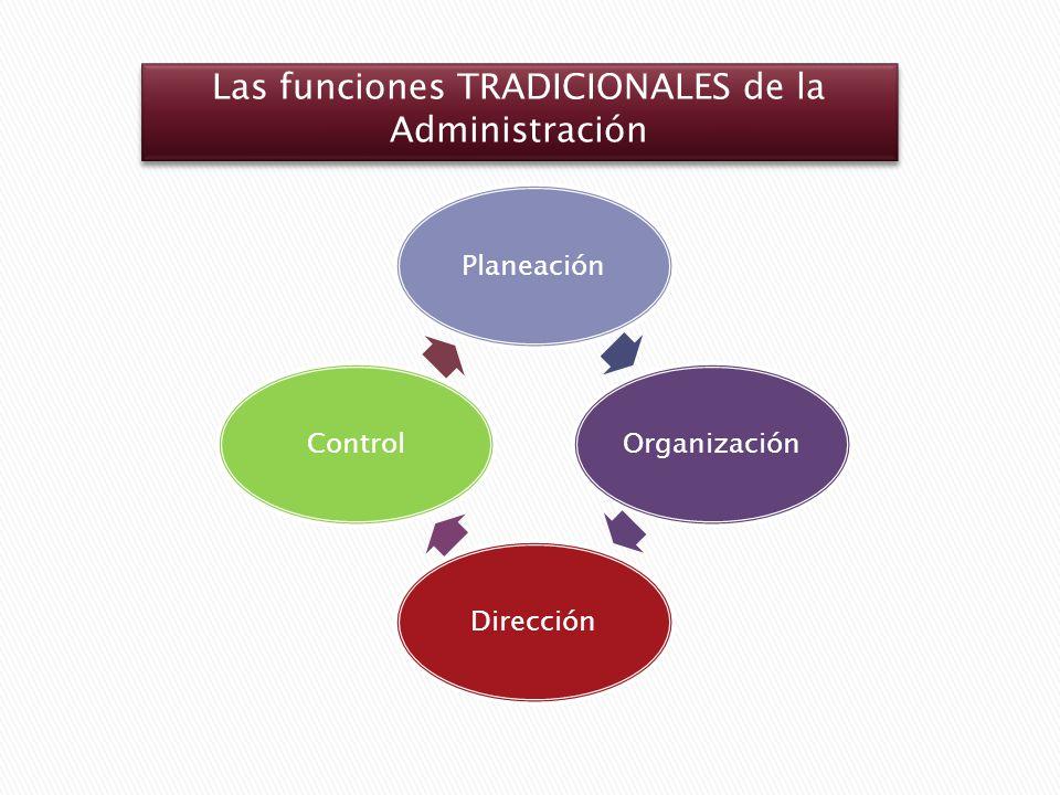 PlaneaciónOrganizaciónDirecciónControl Las funciones TRADICIONALES de la Administración