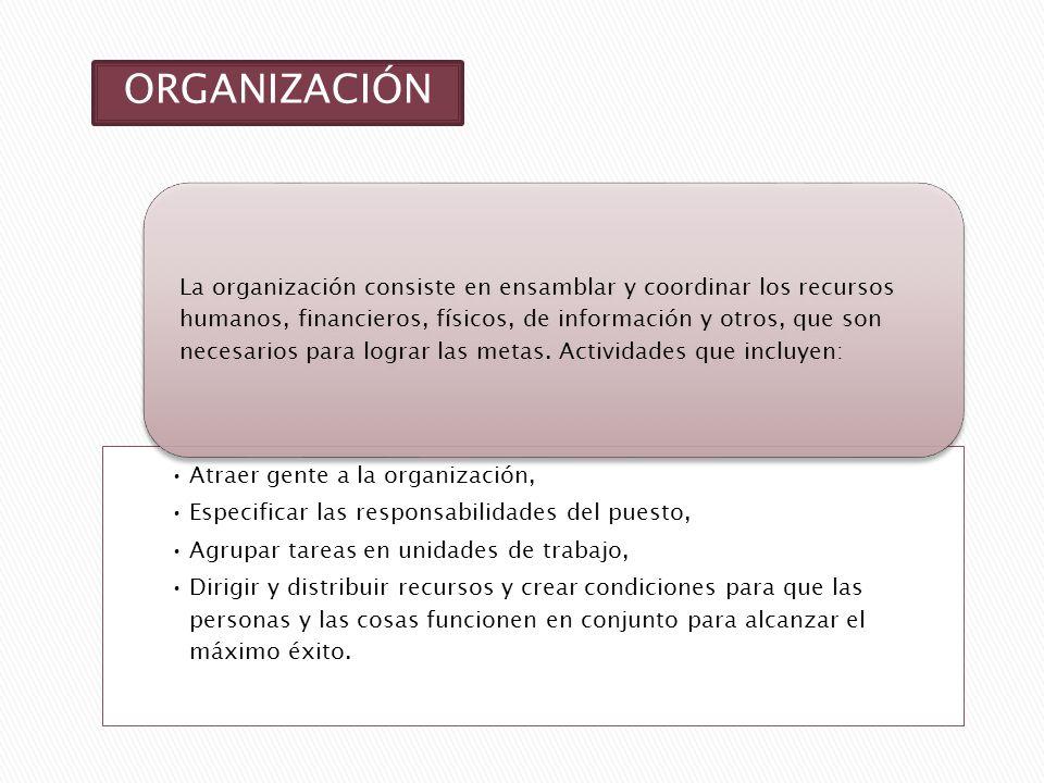 ORGANIZACIÓN Atraer gente a la organización, Especificar las responsabilidades del puesto, Agrupar tareas en unidades de trabajo, Dirigir y distribuir recursos y crear condiciones para que las personas y las cosas funcionen en conjunto para alcanzar el máximo éxito.