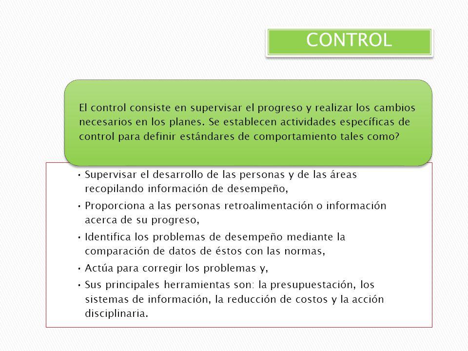 CONTROL Supervisar el desarrollo de las personas y de las áreas recopilando información de desempeño, Proporciona a las personas retroalimentación o i
