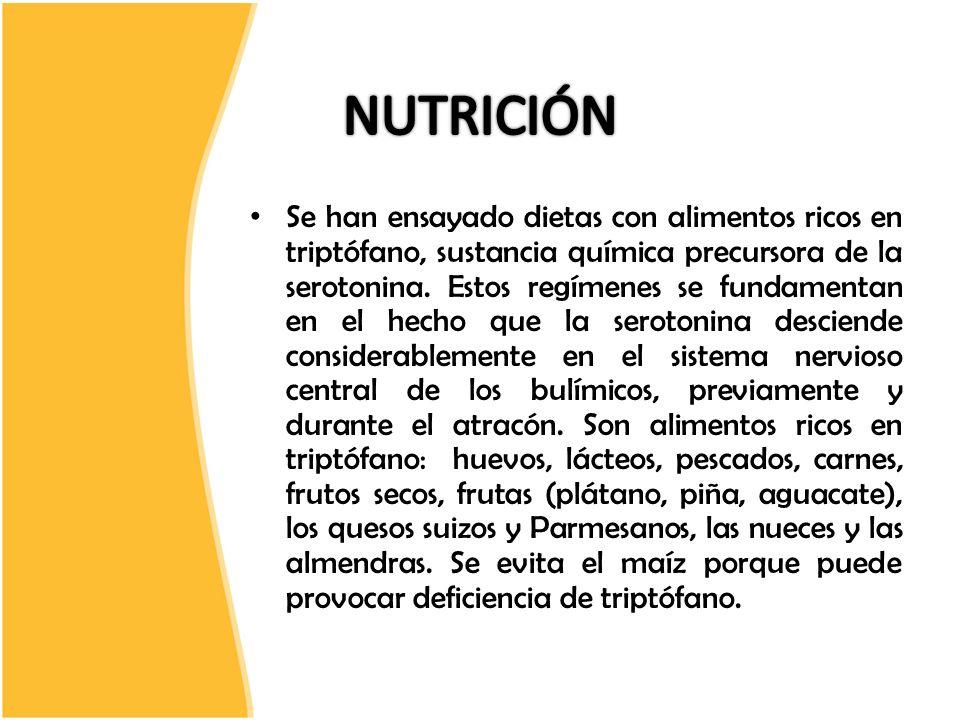 Se han ensayado dietas con alimentos ricos en triptófano, sustancia química precursora de la serotonina. Estos regímenes se fundamentan en el hecho qu